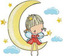 Princess fairy riding a crescent embroidery design