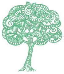 Fancy tree embroidery design