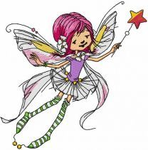 Flying fairy with magic wand