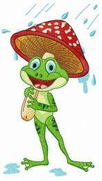 Frog under amanita umbrella