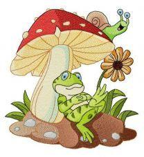 Frog's rest under mushroom