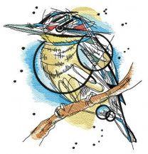Funny bird on tree branch