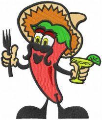 Funny mexican chili embroidery design
