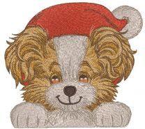Funny Santa dog embroidery design