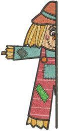 Garden scarecrow outside the door embroidery design