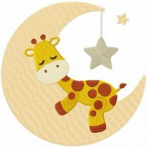 Giraffe sleeping on the moon embroidery design