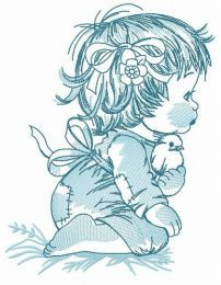 Girl and birds embroidery design