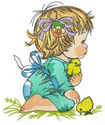 Girl and chicks embroidery design