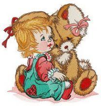 Girl calms down bunny