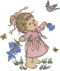 Girl enjoys summer embroidery design