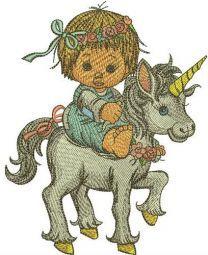 Girl riding unicorn embroidery design
