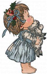 Girl waiting for Christmas embroidery design