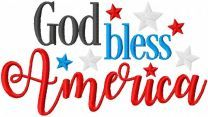 God bless America embroidery design 2