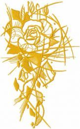 Gold sketch rose embroidery design