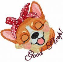 Good sleep corgi embroidery design