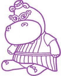 Hallie Hippo embroidery design 12