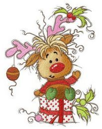 Happy fawn with Christmas gift embroidery design