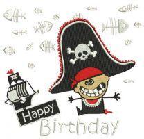 Happy pirate birthday embroidery design