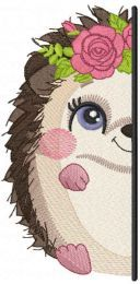 Hedgehog outside the door embroidery design