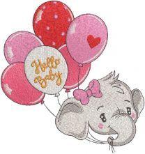Hello baby elephant embroidery design