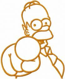 Homer simpson points to you one colored embroidery design