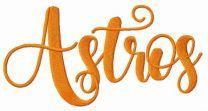 Houston Astros wordmark logo embroidery design