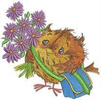 I go to sparrow school embroidery design