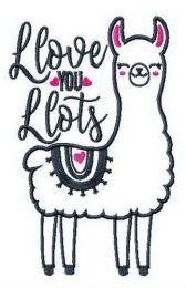 I love you lots llama embroidery design