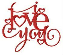 I love you embroidery design 11