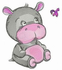 Kind baby hippo embroidery design