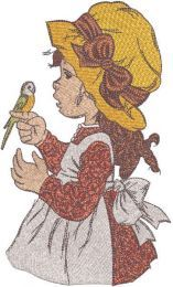 Little girl with parrot embroidery design