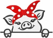 Little pig with red bandana embroidery design