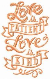 Love is patient, love is kind embroidery design 4