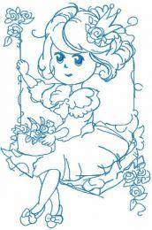 Malvina swing one colored embroidery design
