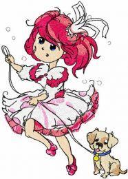 Princess Malvina walking with dog embroidery design