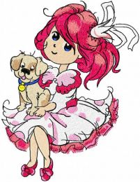 Malvina with puppy embroidery design