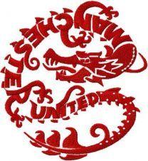 Manchester United dragon logo machine embroidery design