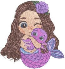 Mermaid and favorite octopus embroidery design