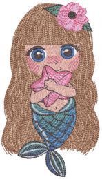 Mermaid with sea star embroidery design