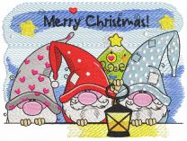 Merry christmas gnomes embroidery design