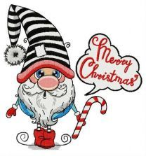 Merry Christmas surprised gnome embroidery design
