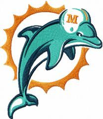 Miami Dolphins logo machine embroidery design 1