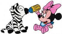 Minnie Mouse and zebra machine embroidery design
