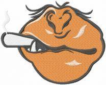 Monkey smoking face mask embroidery design