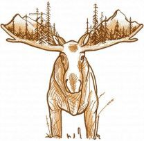 Moose world embroidery design