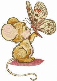 Mouse and butterfly embroidery design