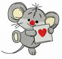 Mousekin with Valentine card embroidery design