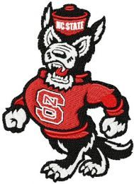 Walking angry wolf with NC State sweater embroidery design