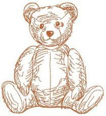 Old teddy toy machine embroidery design 3