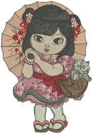 Oriental cute girl embroidery design